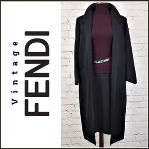 VINTAGE FENDI 365 Black Wool Overcoat, Sz 10/EU 40